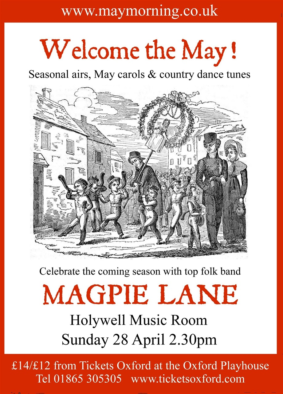 poster for Magpie Lane Welcome the May concert, 28th April