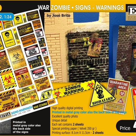 Hospital Posters Zombie// Modern 2 sheets 1//35 scale