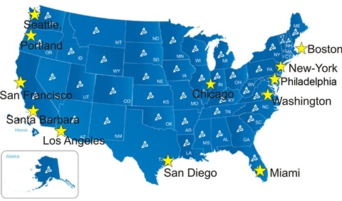 Mapping Kaplan International colleges in USA