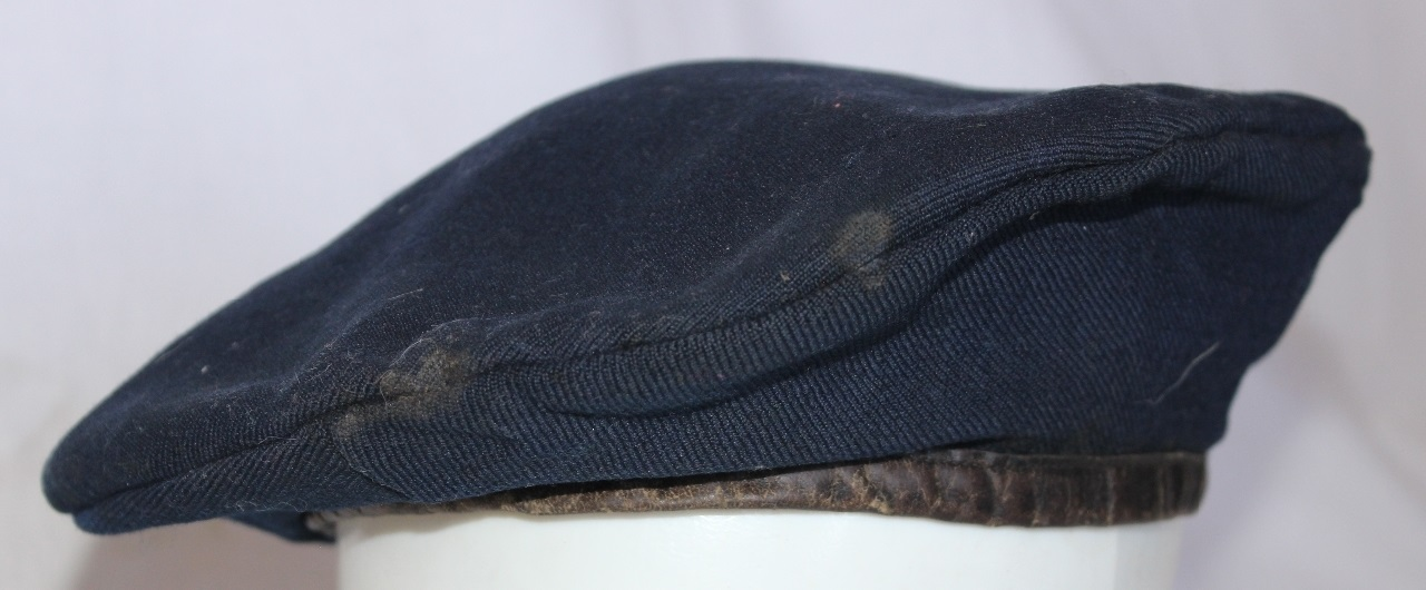 40894dc2 A dark blue woollen beret with a leather headband worn by 207562 John  Joseph Joy who enlisted on 4 Aug 1935 at Bankstown and discharged on 4 Jan  1946 from ...