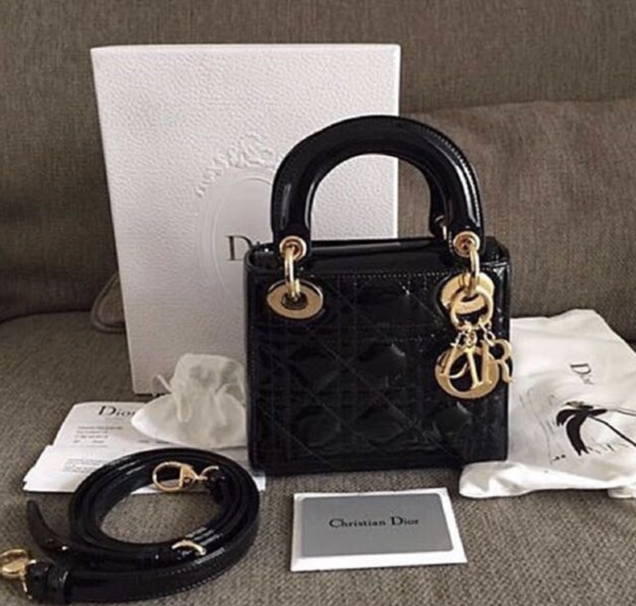 118aa2f28afd Mini Lady Dior Measurements   mini size. Condition   9 10. Color Material    black patent leather comes with full set including receipt
