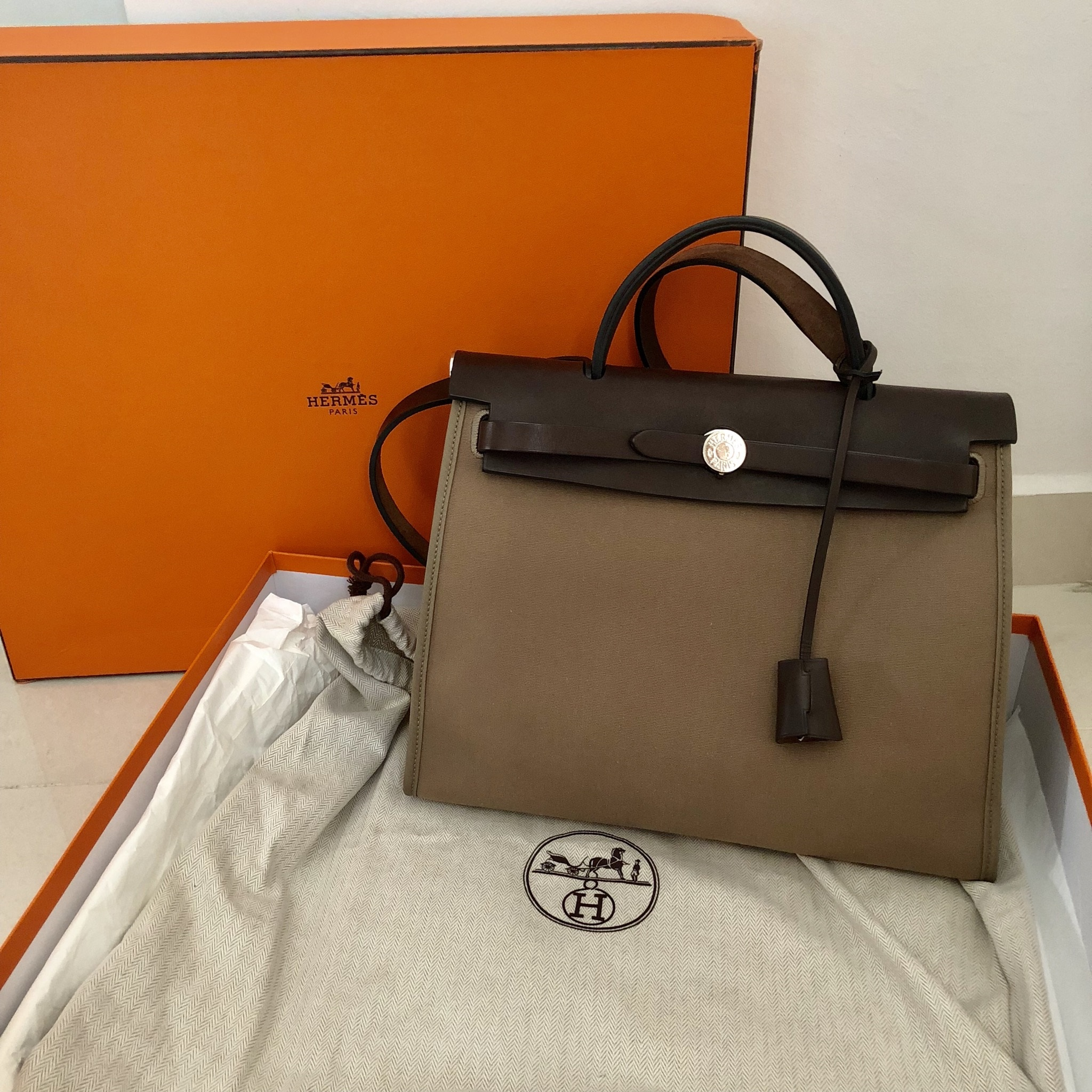 4f81a75988c5 ... uk hermes herbag zip 31 in etoupe condition 9 10 color material etoupe  canvas comes with ...