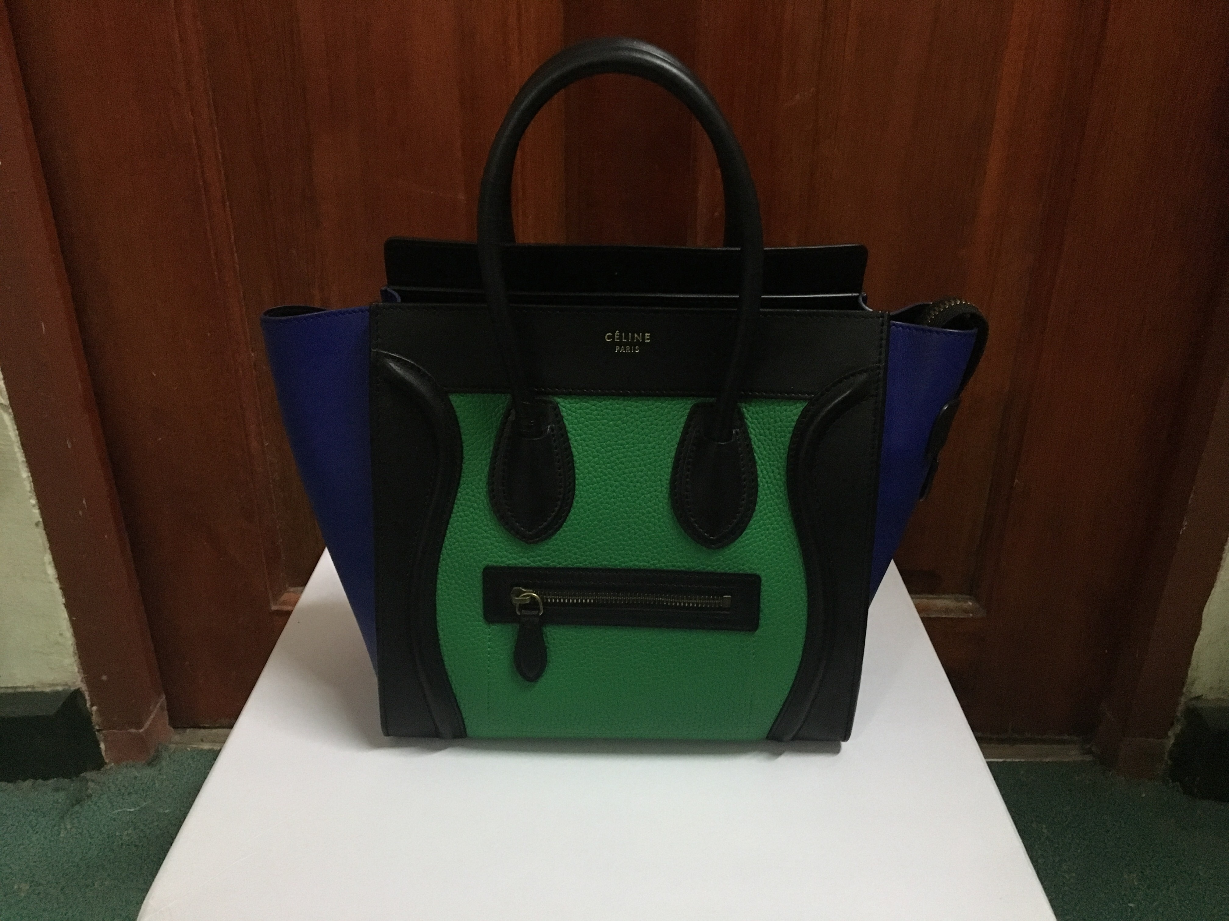 """206b1b58fdb8 Celine Micro Luggage in Tri-Color Measurements   10"""" x 10"""" x 6"""" Condition    9 10 Color Material   blue green black Calf Leather Comes with dustbag    tag."""