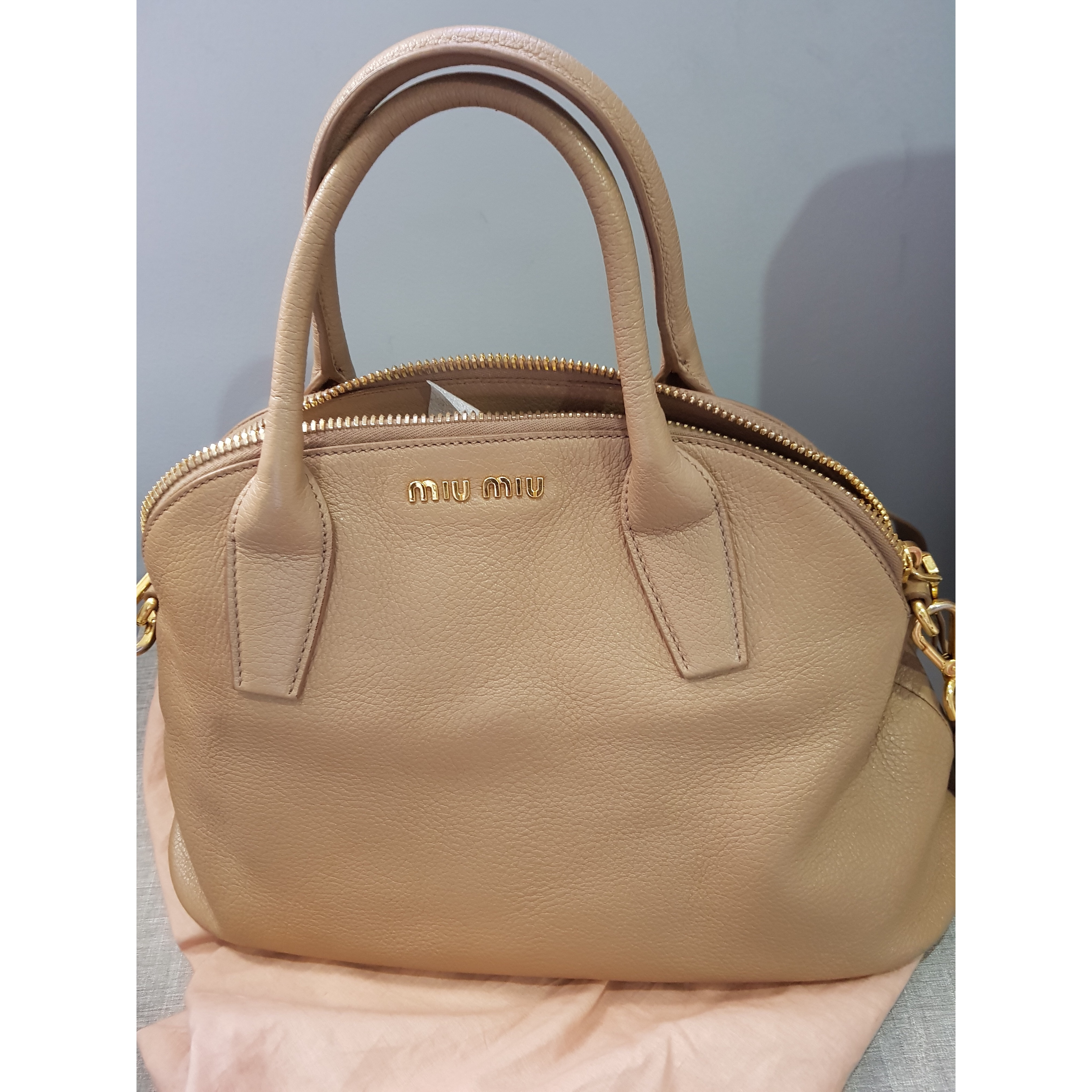e56361ef3207 MiuMiu bag Measurements   heigh 24 and base 37 (using measuring tape)  Condition   9 10 Color Material   calf leather(Madras) Written in cert come  with Tax ...