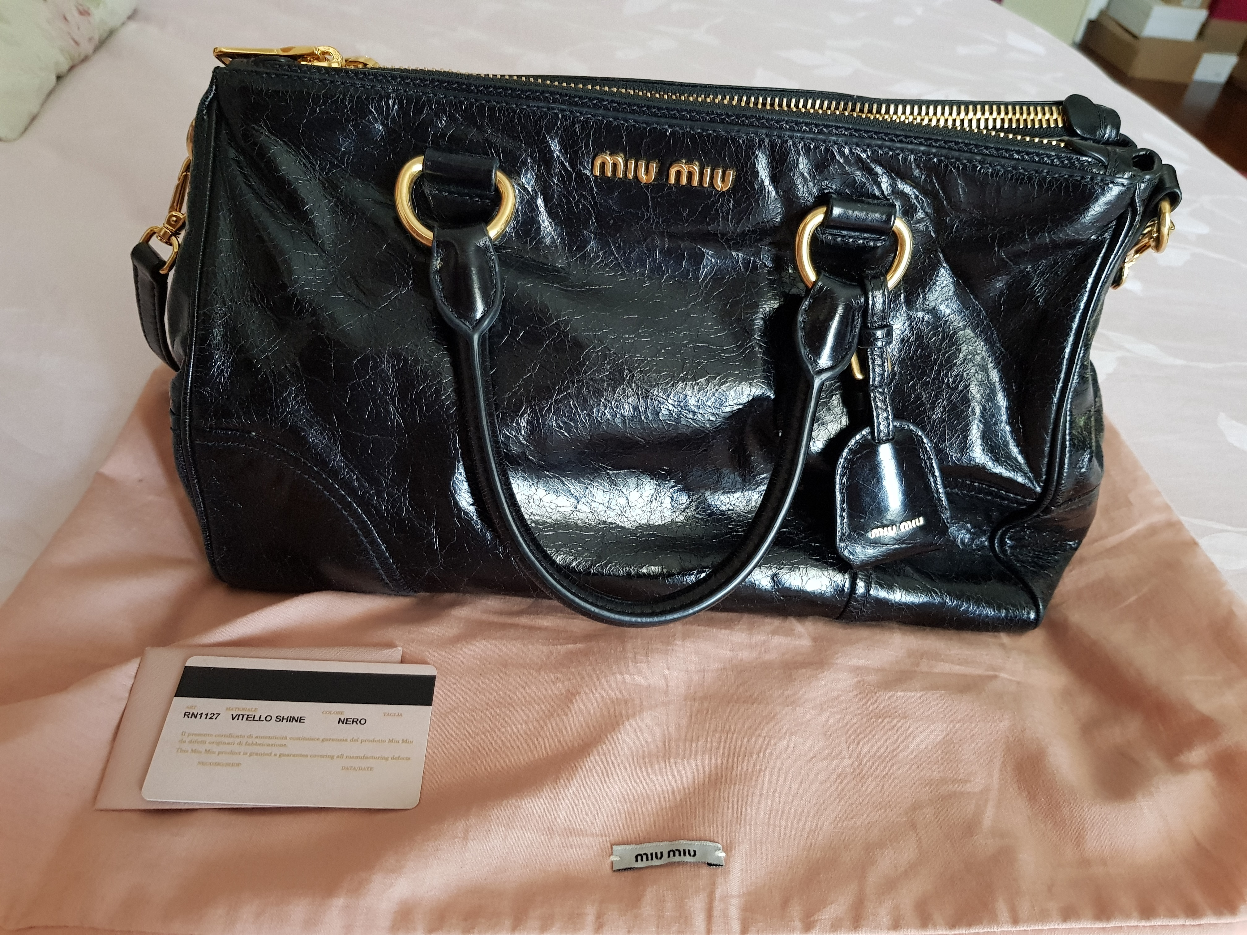 df04b42b08c1 Miu Miu vitello shine bag Measurement   14.75