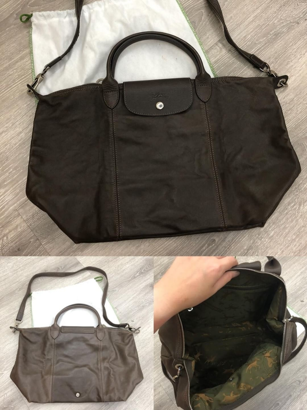 Long Champ leather sling bag Measurements   L 30cm - 50cm x H 30cm x W 30cm  Condition   8.5 10 Color Material   Dark Brown (can be used in both way)  Selling ... a1c6e3761ad1b