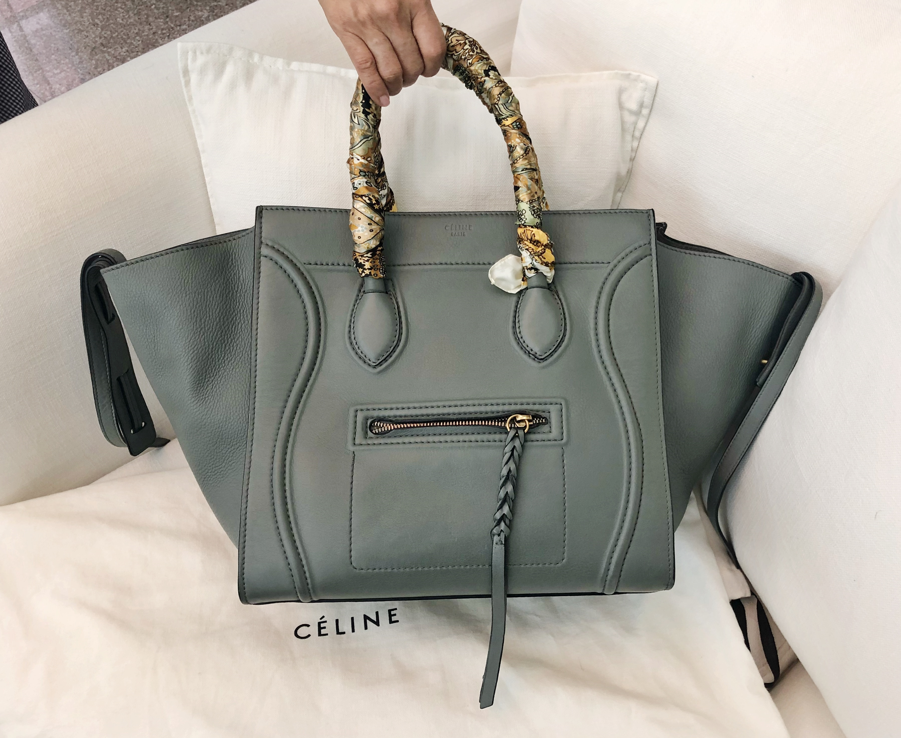 Celine Balenciaga Mini Metallic Edge Ghw Grey With A Green Undertone Phantom Comes Dustbag And The Satin Scarf On Handles Condition 99 10 Worn Twice Selling Price Sgd230000