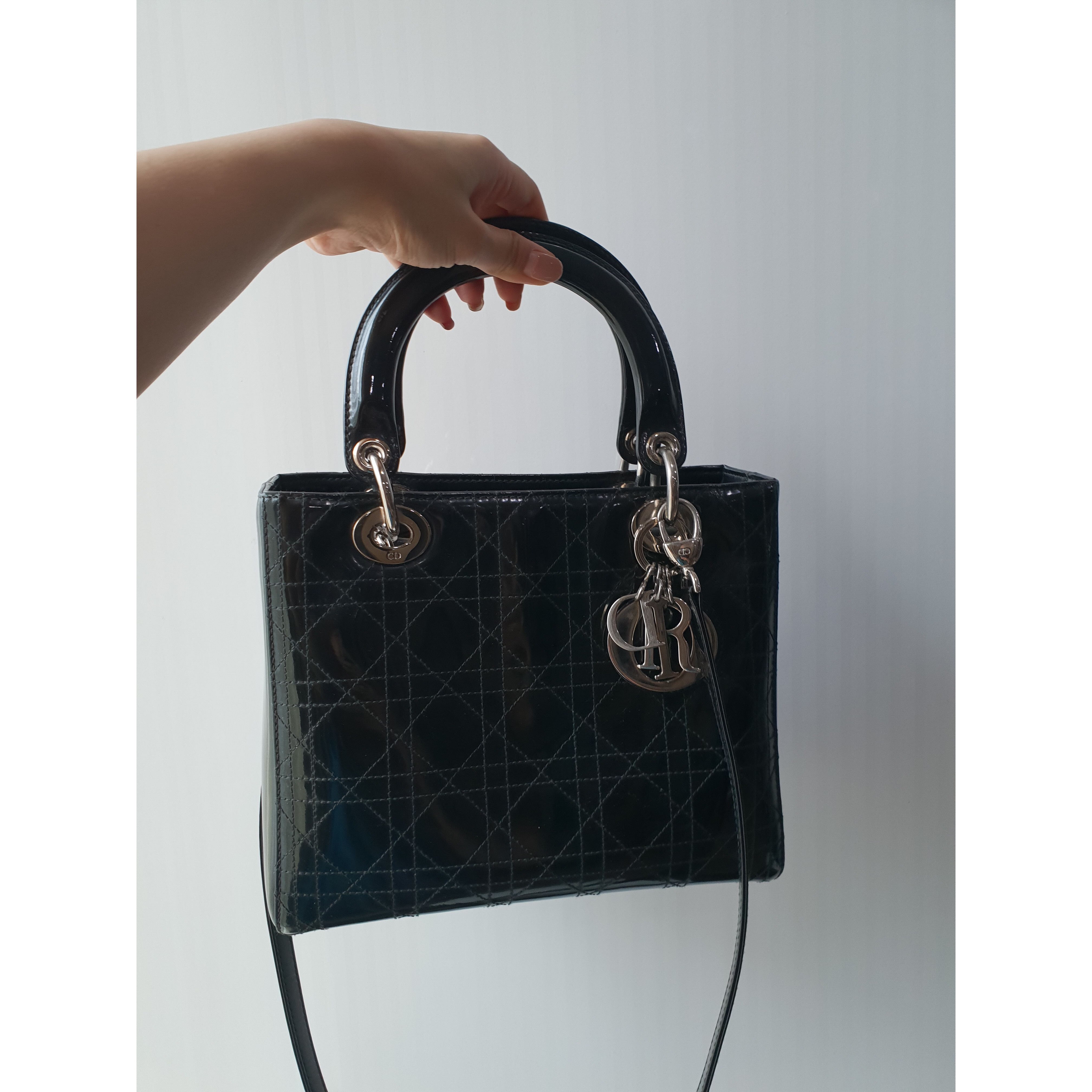 Lady Dior Medium In Black Patent Condition 8 5 10 Color Material Leather Good No Scuffed Corners