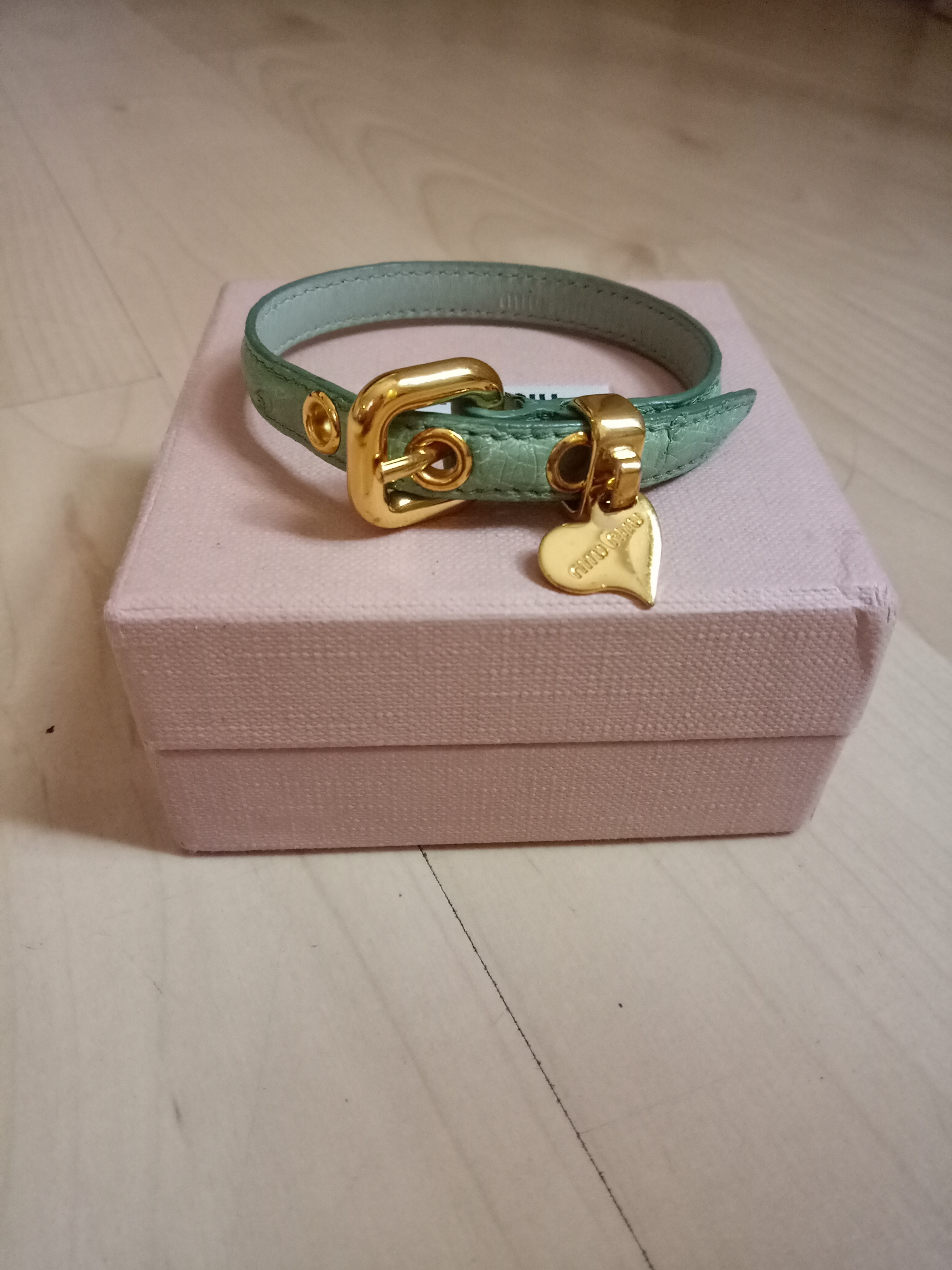 ef539e47b339 Miu Miu heart charm leather bracelet Condition   8.5 10 come with box and dust  bag Adjustable length serious buyer only and NOT for Fussy buyers 🙏  Selling ...