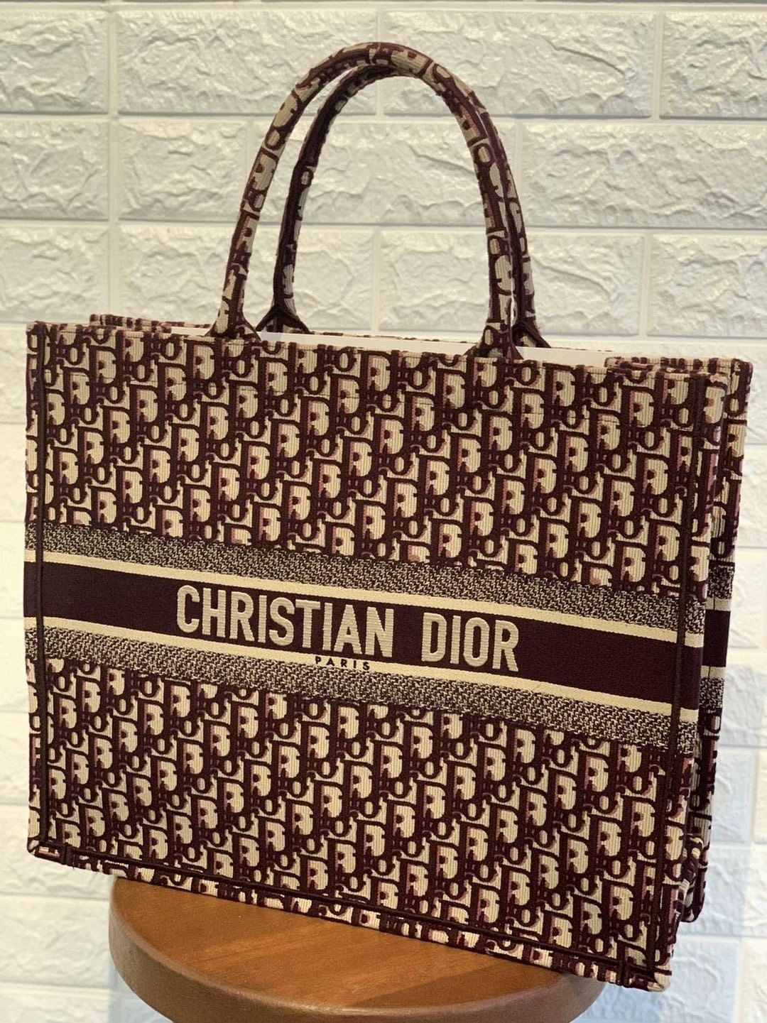 d1caab55b54b Dior Logo Embroidered Canvas Book Tote Condition   Brand New (impulsive  buy) Color Material   Maroon   Canvas Come with   Dust bag