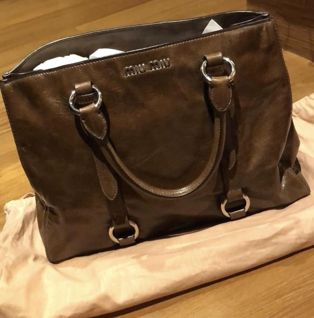 f31954d2649 Miu miu vitello shine convertible tote bag Measurements   Small Condition    9 10 Color Material   brown, leather Excellent condition, comes with long  strap ...