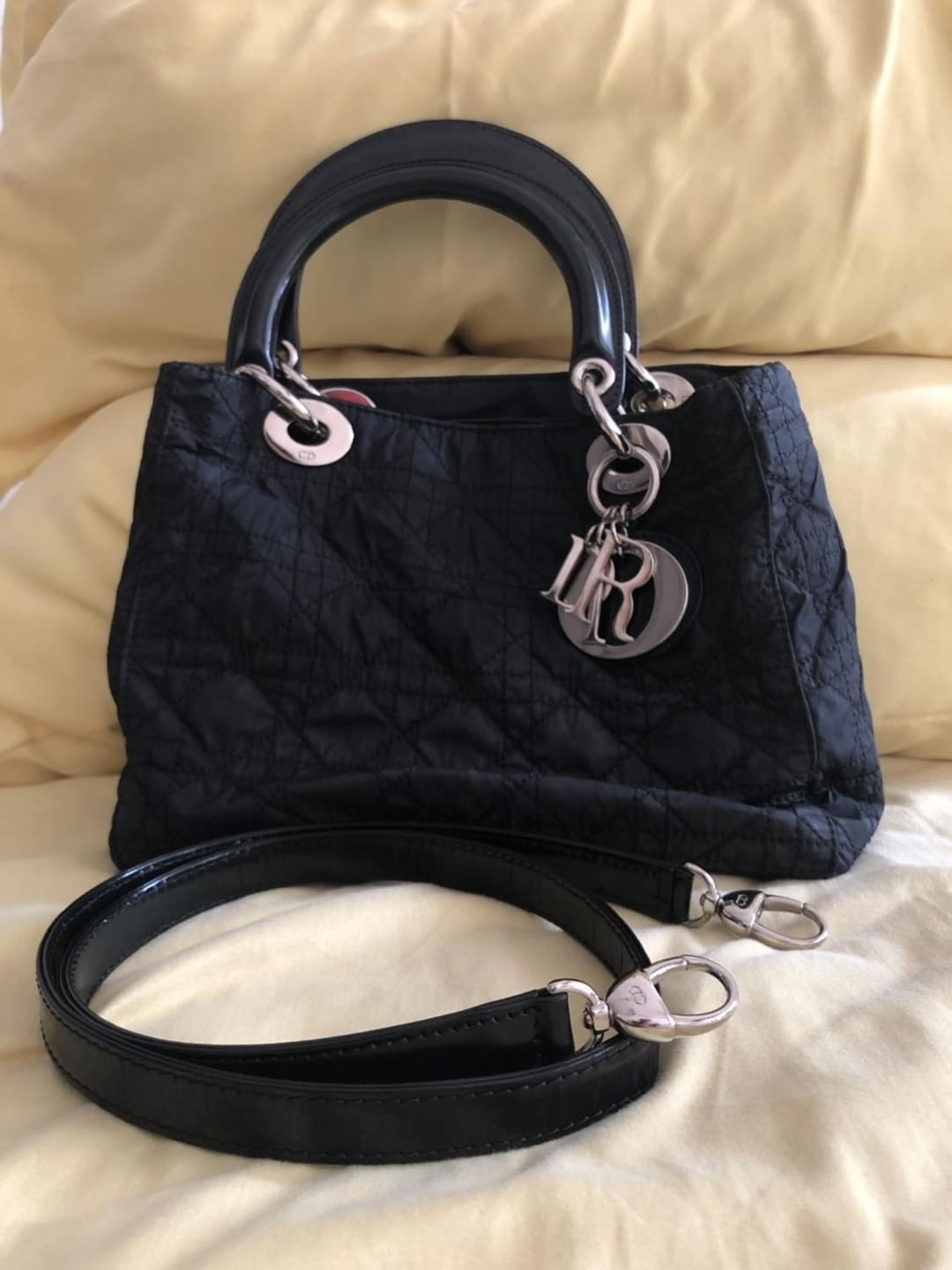 """d378f55aa0653 Lady Dior Nylon Medium Black (vintage) Measurements   9"""" x 8"""" x 4.5""""  Condition   6 10 (for a bag aged 20years old is quite impressive!)"""