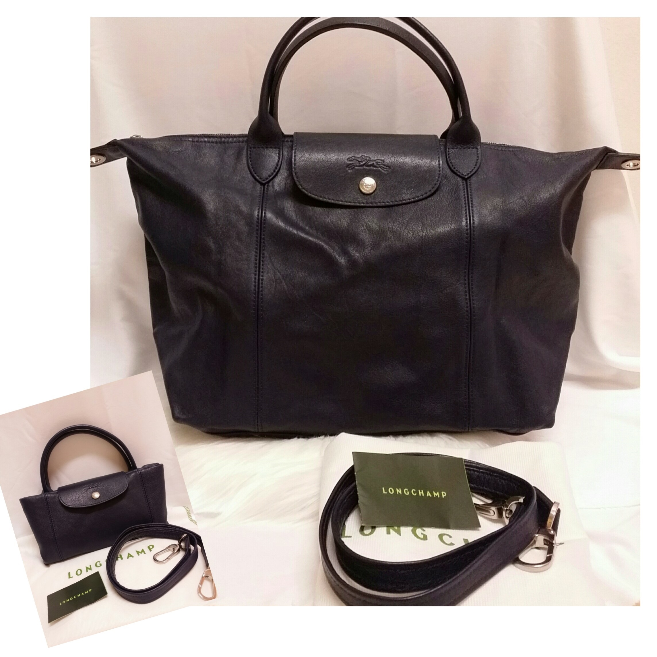 6ec979a22cd5 LONGCHAMP LE PLIAGE CUIR CROSSBODY. 100% Authentic. Condition   9 10 (well  kept). Colour Material   Navy Blue   Leather with Silverstone Hardware.