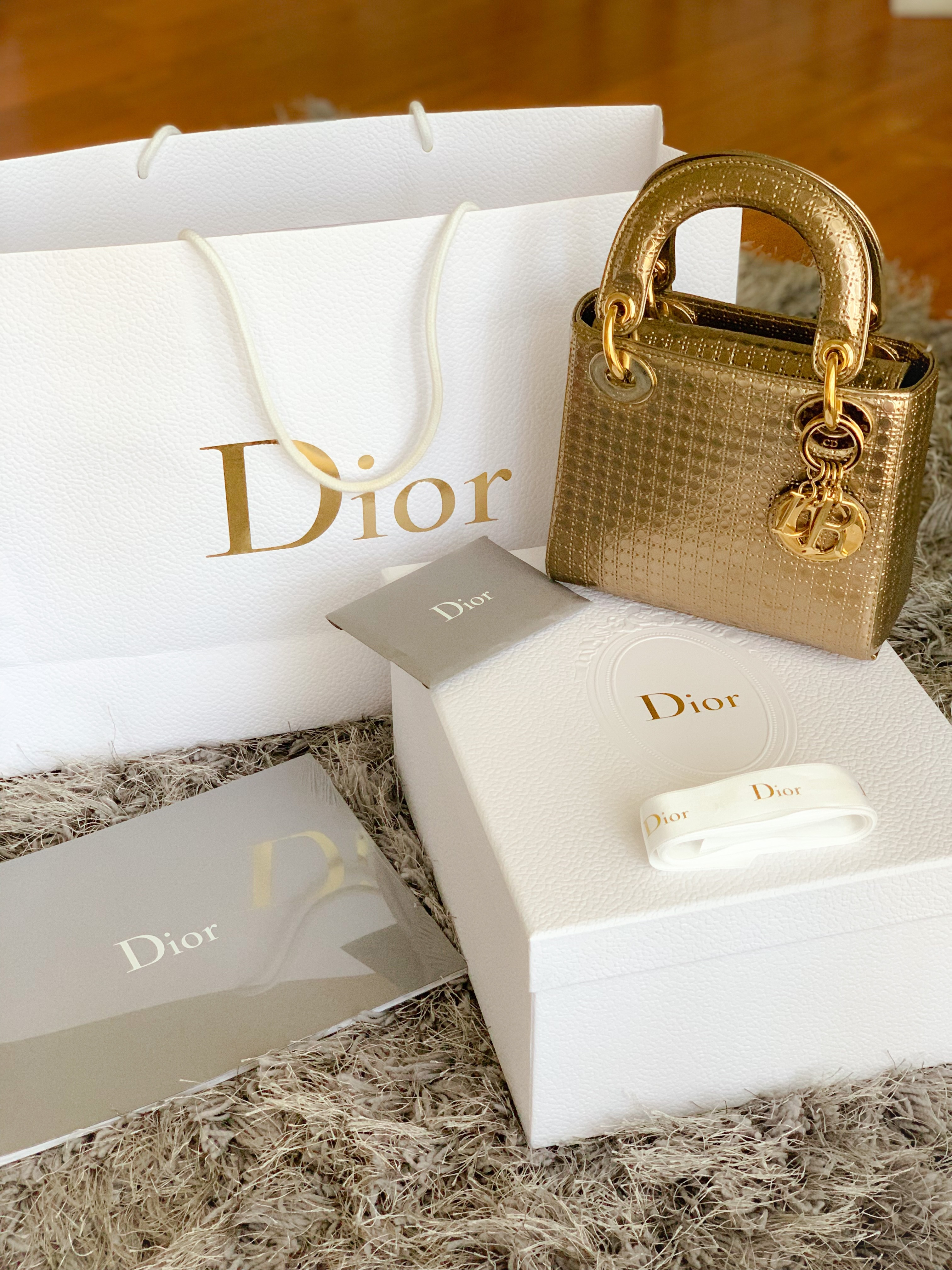 78860eafe03e Dior Gold Micro Cannage Patent Leather Mini This structured bag features  micro cannage pattern in gold patent leather. It features gold-tone DIOR  letter ...