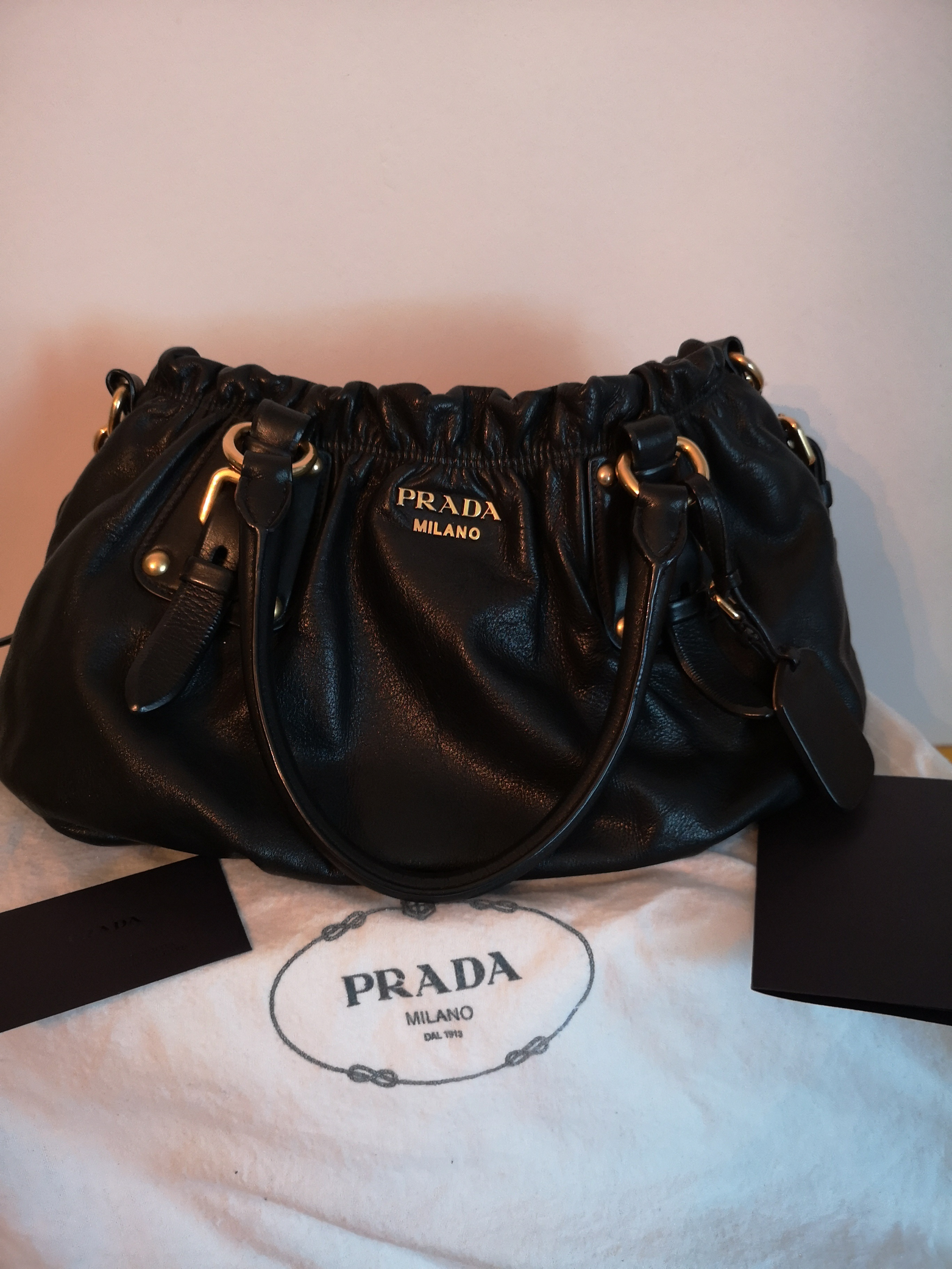 68c4df2991f6 Prada Soft Calf Nero Colour   Black Condition   9 10 (used) no scratches  Bought at SGD2720 Selling Price   S  1400 (COD in Singapore only) comes with  full ...