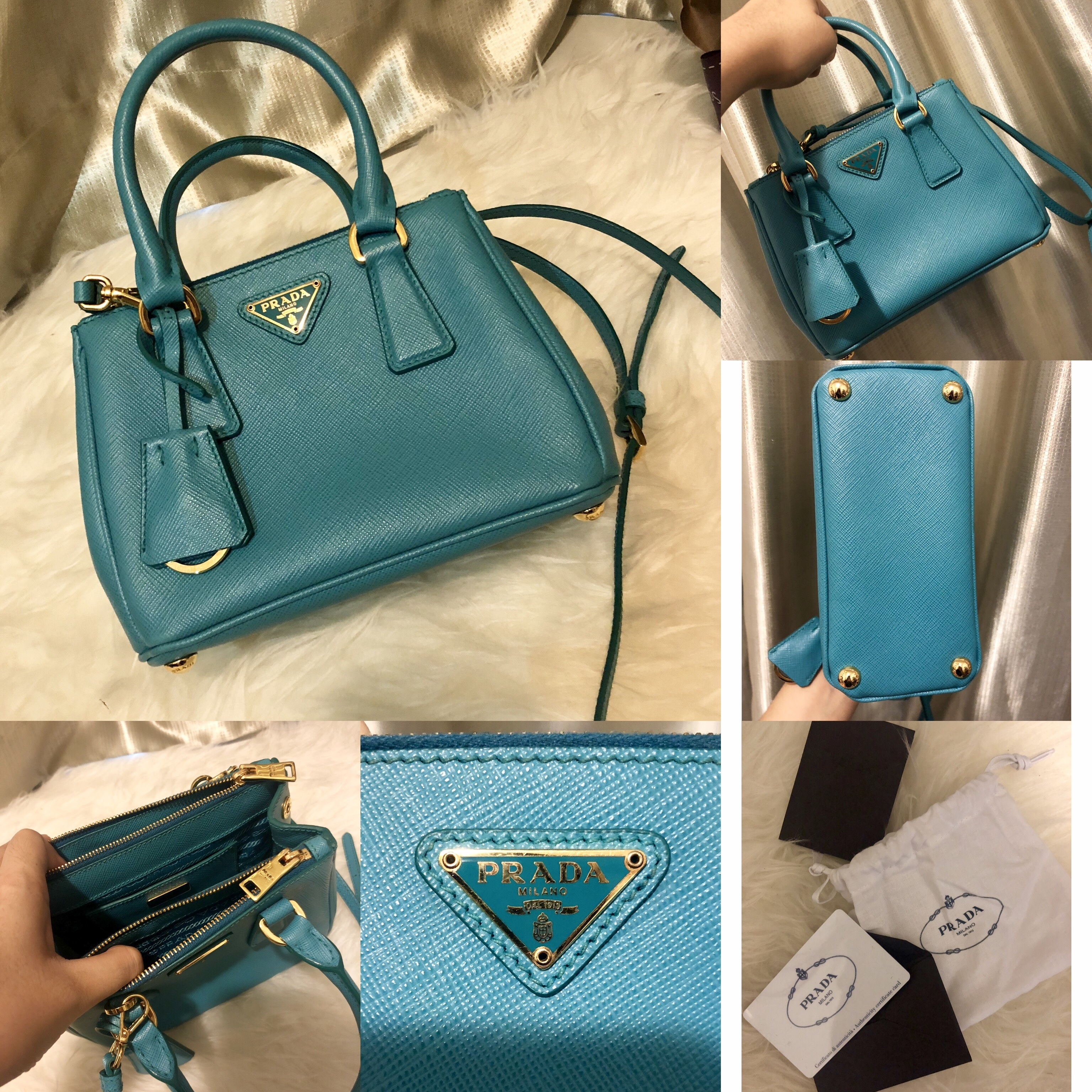 6883297ed9d2 Prada mini bag Measurements : 18cmx13cmx8.5cm Condition : 9/10 (only used  twice) Color/Material : Blue-Turquoise with saffiano leather Bought from  Prada ...