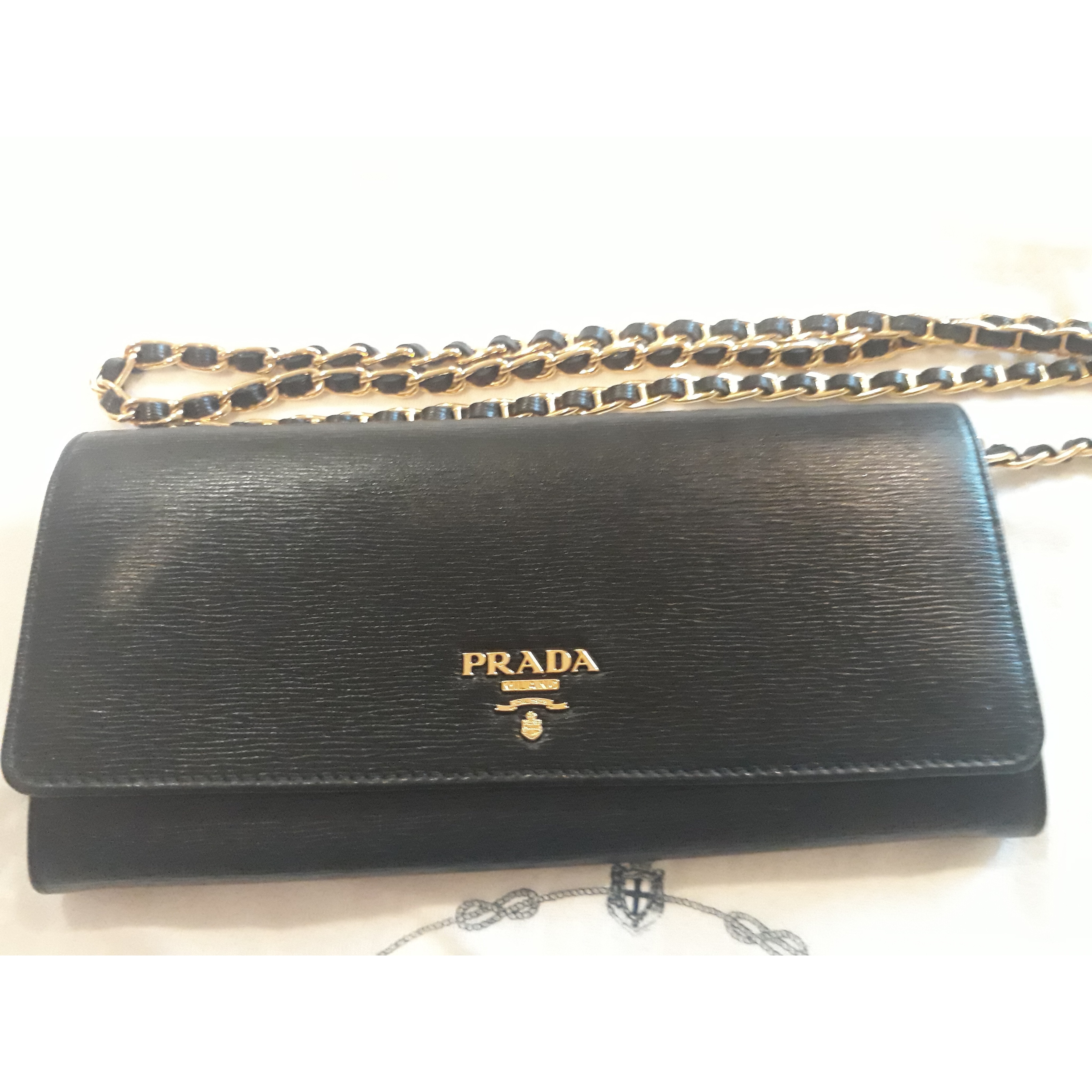 a962d0c4efa5 Prada wallet on chain - leather in black with gold hardware Measurements :  8.5