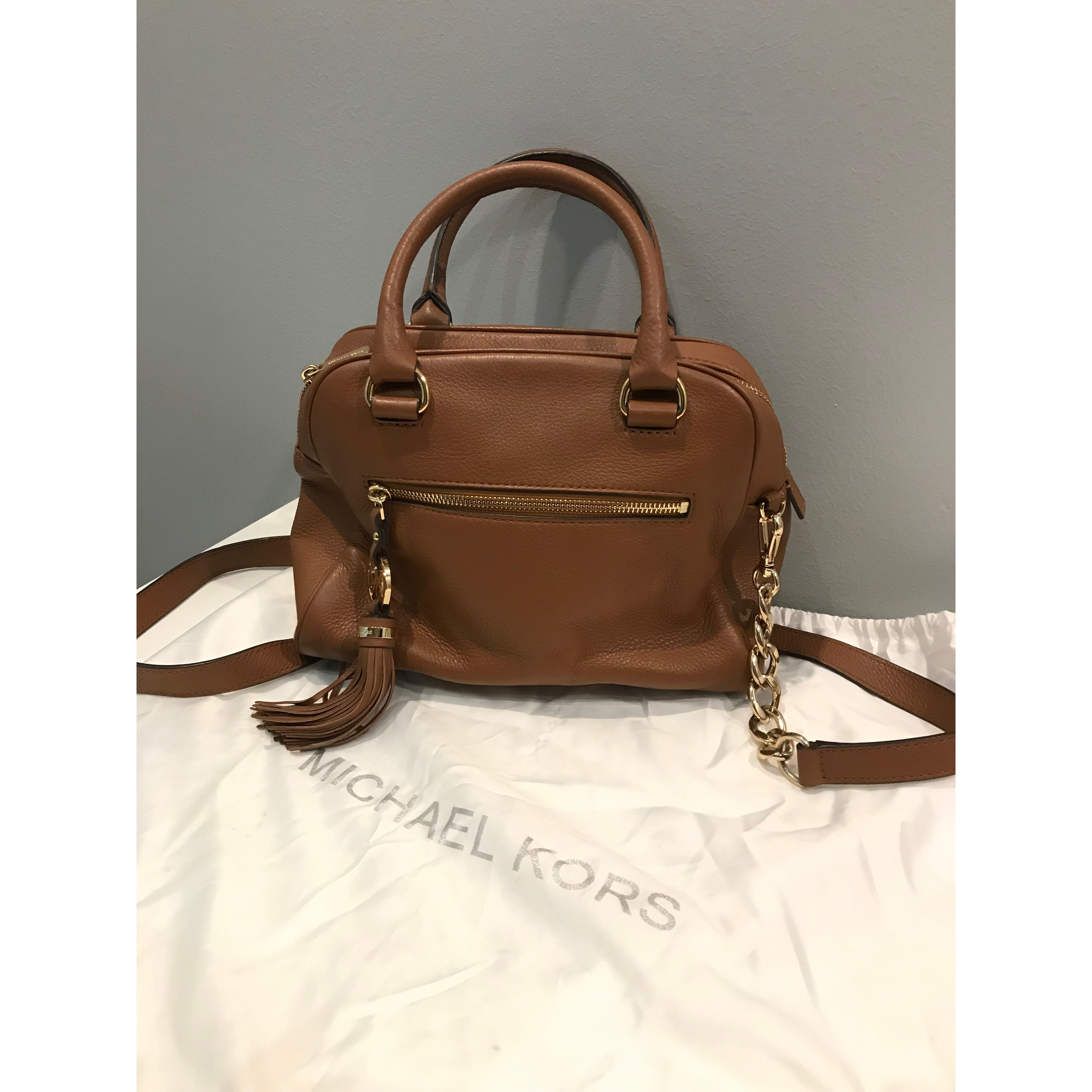 ff30f8d6408d Michael Kors handbag Condition   8.5 10 Color Material   caramel  brown leather rarely used