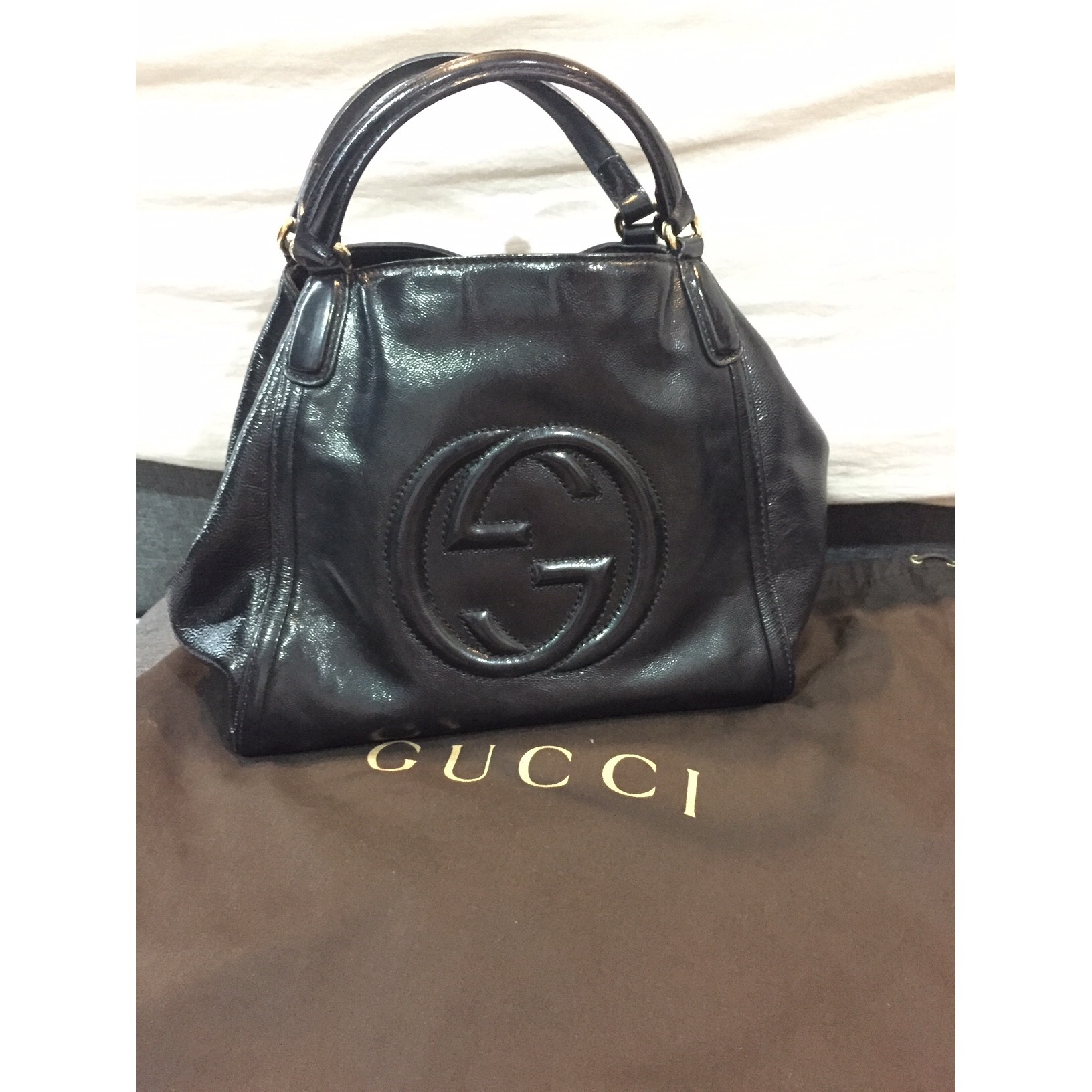 4ffdbc0525b Gucci Soho Leather Shoulder Bag Condition   7 10 (preloved preloved) used  with lots of love Color Material   Black Leather Selling Price   SGD 585    RM ...