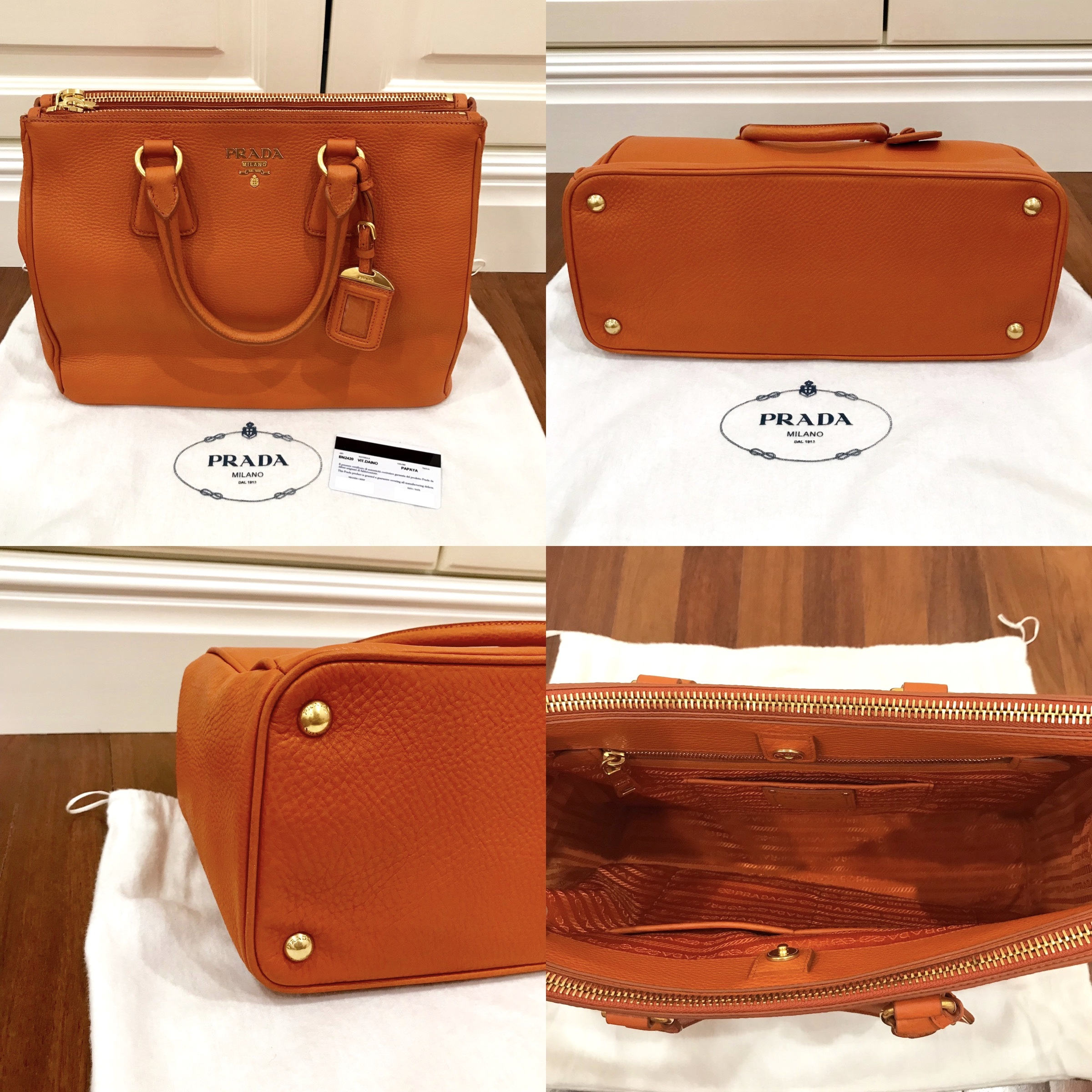 ae11d876911cbe Prada Saffiano Lux Tote Measurements : 36cm length x 15cm width x 25cm  height Condition : 10/10, new Color/Material : Orange/Calf leather with  gold hardware ...