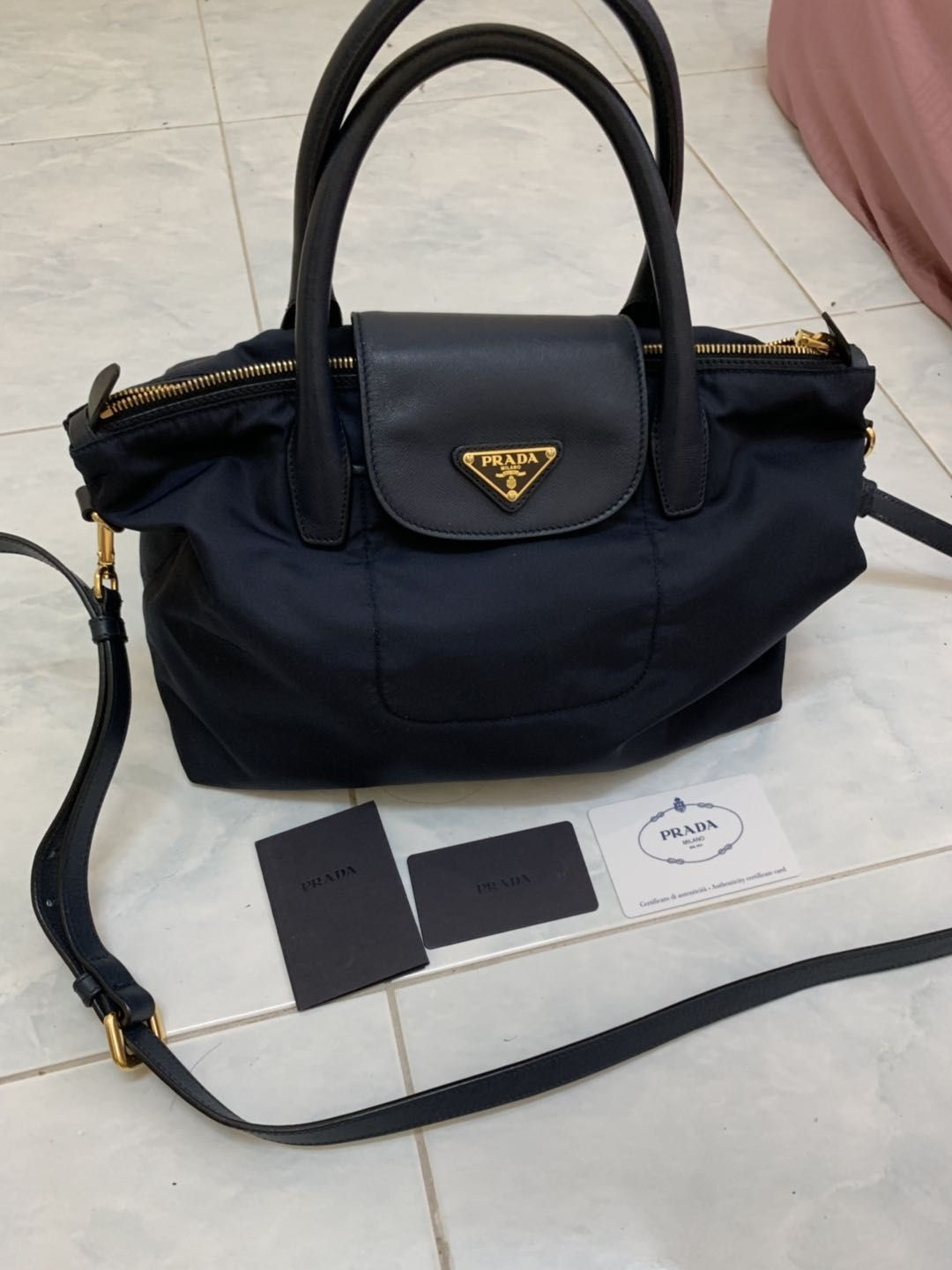 0444f2897ecd PRADA BN2106 TESSUTO+SAFFIAN Condition : 9/10 Color/Material : BLUE Almost  like new, comes with dust bag & strap & card, COD in and around PENANG, ...
