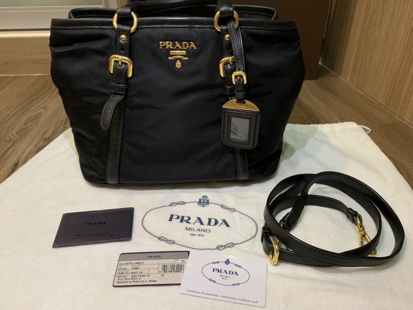 efb1908dbbb1 Prada BN1841 Gold Condition : 9/10 Colour/Material : black with gold  hardware Come with dustbag and Authencity card Whatapps me for more details.