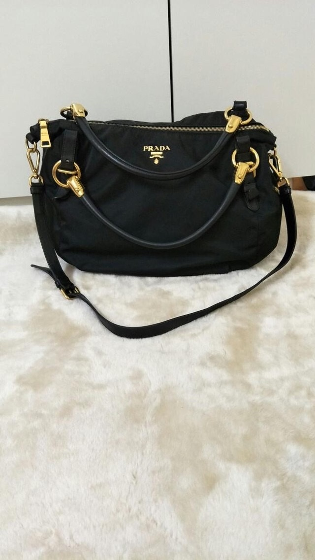 65a07d164a01 Prada Nylon bag Measurements : Medium size Condition : 8/10 more pict pls  whatapp me Color/Material : Black/leather nylon 100% original can COD to  view ...