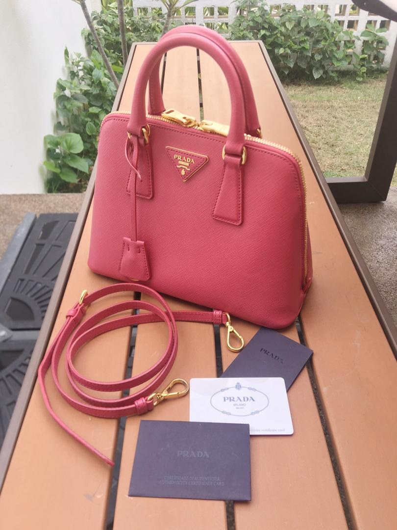 6ff154721ff9 Authentic Prada Saffiano Lux In Peonia Color BL0838 Style : Tote & Sling  Condition : 9/10 Includes long strap, authentic card of prada and paperbag  Retail ...