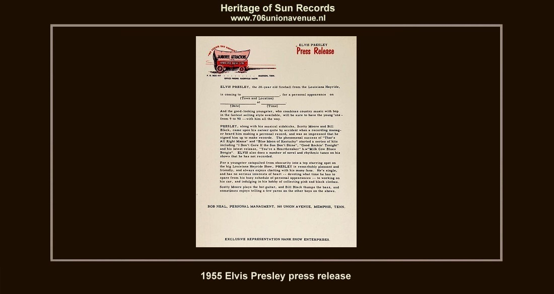 1d69b9472d249 (Above) This 1955 Elvis Presley press release is the earliest known  example. The release is on Jamboree Attractions letterhead