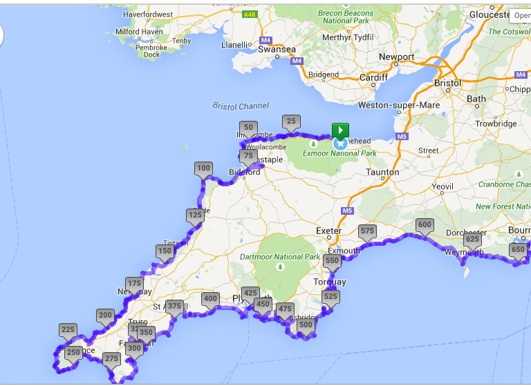 Map Of South West Coast Of England.S W Coast Path Www Grannygoescamping Co Uk