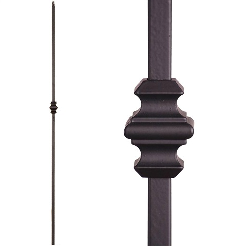 44 3//32 Height x 5//8 Sq Wrought Iron Black Plain Square Bar Design Indital PC28-7-0007 Powder Coated Wrought Iron Baluster for Stairs and Railings Diameter