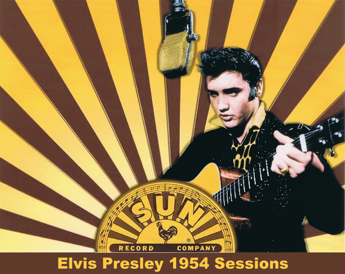 Image result for elvis presley makes his first major recording session at sun records in 1954