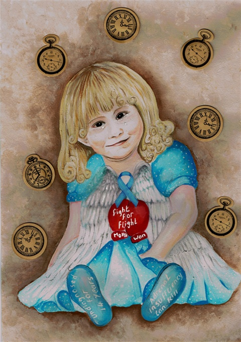 "A painting of Molly as a little girl with angel wings in her dress and a heart saying ""Fight for flight, Molly won."""